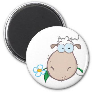 Sheep Head Cartoon Character 6 Cm Round Magnet