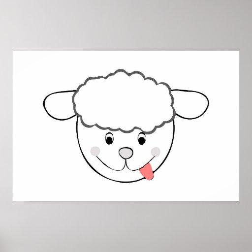 Sheep head cartoon posters