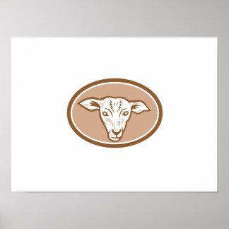 Sheep Head Oval Cartoon Posters