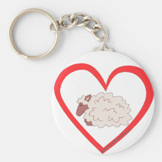 Sheep Heart Basic Round Button Key Ring