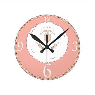Sheep illustration round clock