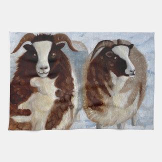 Sheep in the snow tea towel