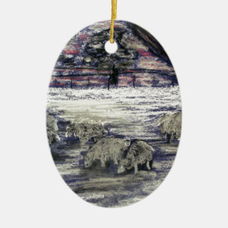 Sheep in winter christmas ornament