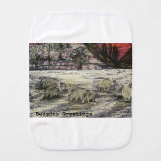Sheep-in-winter-Seasons-Greetings Burp Cloth
