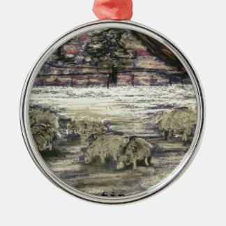 Sheep-in-winter-Seasons-Greetings Christmas Ornament