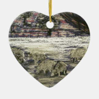Sheep-in-winter-Seasons-Greetings Christmas Ornament
