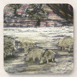 Sheep-in-winter-Seasons-Greetings Coaster