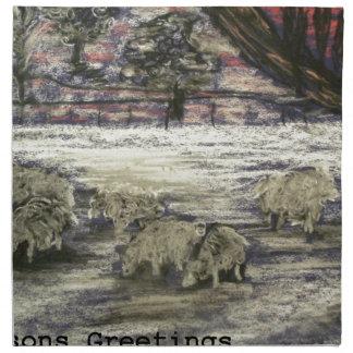 Sheep-in-winter-Seasons-Greetings Napkin
