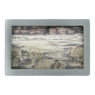 Sheep-in-winter-Seasons-Greetings Rectangular Belt Buckles
