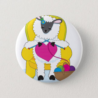 Sheep Knitting Heart 6 Cm Round Badge