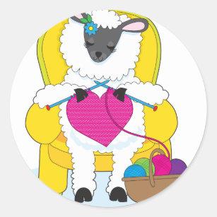 Sheep Knitting Heart Classic Round Sticker