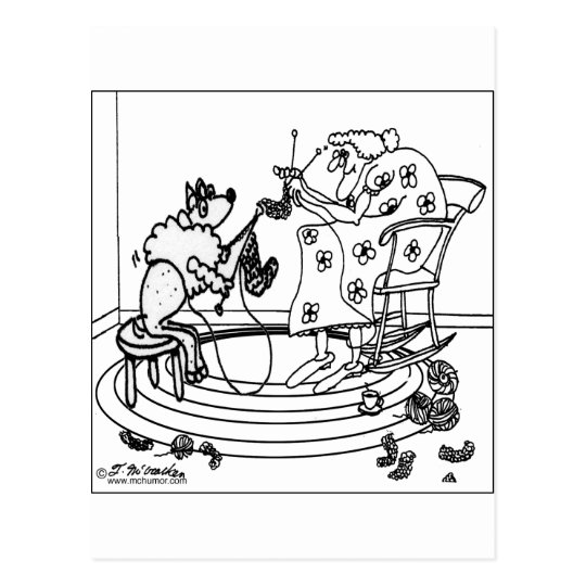 Sheep Knitting Postcard
