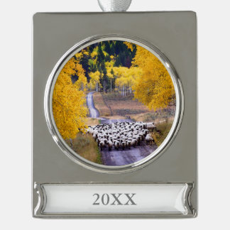 Sheep on Country Road Silver Plated Banner Ornament