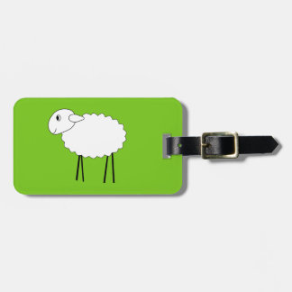 Sheep on Green Background. Luggage Tag