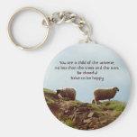 Sheep on Mountain Motivational Desiderata Keychain