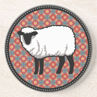 Sheep on Ornate Red Pattern Coaster