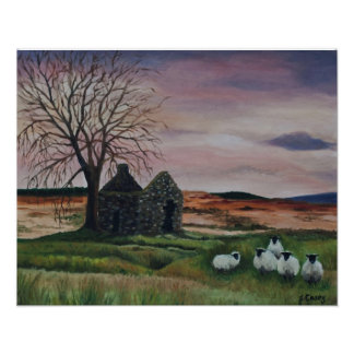 Sheep on Parkmore, County Antrim painting print