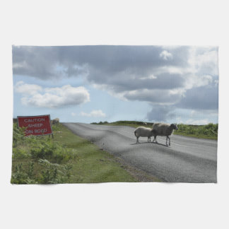 Sheep on road tea towels