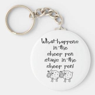 Sheep Pen Basic Round Button Key Ring