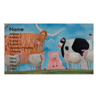 sheep pig highland cow pack of standard business cards