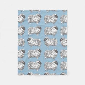 Sheep Powder Blue Pattern Fleece Blanket
