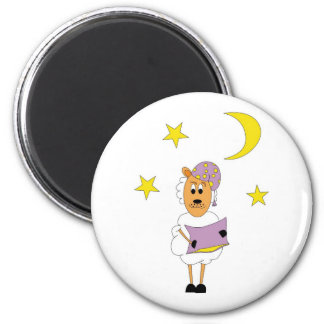 Sheep - property night 6 cm round magnet