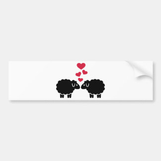 Sheep red hearts love bumper stickers