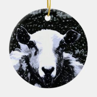 SHEEP ROUND CERAMIC DECORATION