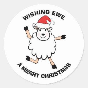 Sheep Santa Wishing Ewe Merry Christmas Classic Round Sticker