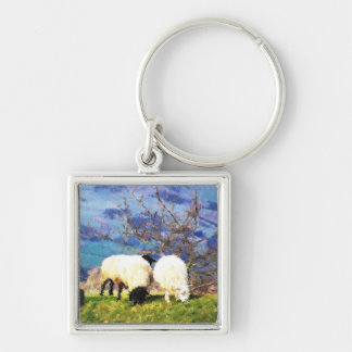 SHEEP Silver-Colored SQUARE KEY RING