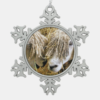 SHEEP SNOWFLAKE PEWTER CHRISTMAS ORNAMENT