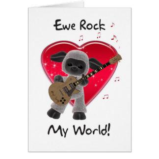Sheep Valentine's Day Card - Ewe Rock My World