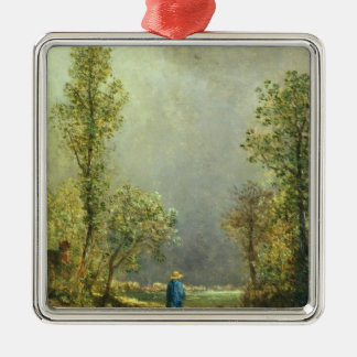 Sheep watching a Storm Christmas Ornament