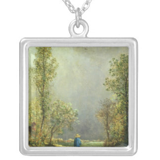 Sheep watching a Storm Silver Plated Necklace