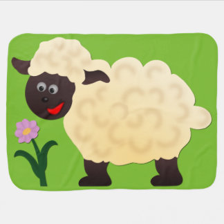 Sheep with flower baby blanket