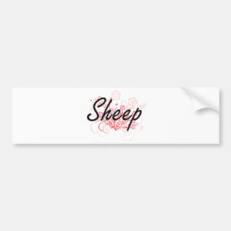 Sheep with flowers background bumper sticker