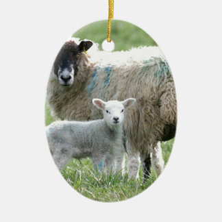 Sheep with her lamb christmas ornament
