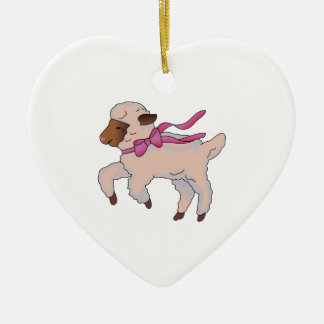 Sheep with Pink Ribbon Ceramic Heart Decoration