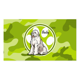 Sheepdog bright green camo camouflage business card