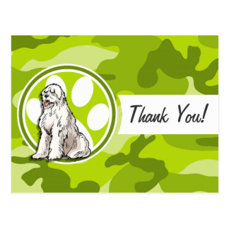 Sheepdog; bright green camo, camouflage postcards