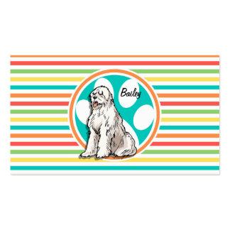 Sheepdog Bright Rainbow Stripes Business Cards