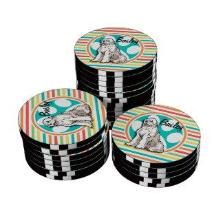 Sheepdog; Bright Rainbow Stripes Poker Chips Set