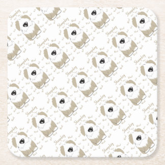sheepdog square paper coaster