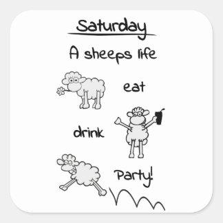 sheeps life saturday square sticker