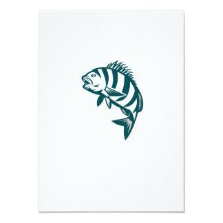 Sheepshead Fish Jumping Isolated Retro 11 Cm X 16 Cm Invitation Card