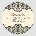 Sheer Lace Bridal Shower Round Stickers