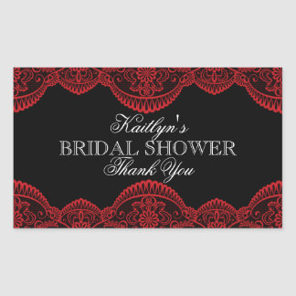 Sheer Red Lace Rectangular Bridal Shower Rectangular Sticker