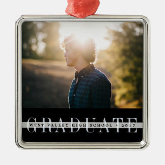 Sheer Stripe | Graduation Photo Christmas Ornament