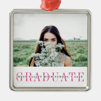 Sheer Stripe | Graduation Photo Silver-Colored Square Decoration