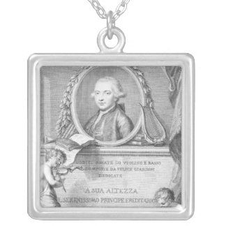 Sheet Cover with a portrait of Felice Giardini Silver Plated Necklace